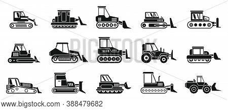 Bulldozer Machine Icons Set. Simple Set Of Bulldozer Machine Vector Icons For Web Design On White Ba