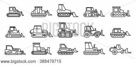 Construction Bulldozer Icons Set. Outline Set Of Construction Bulldozer Vector Icons For Web Design