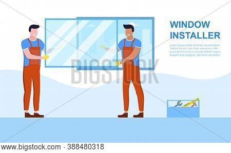 Windows Installation Concept. Smiling Craftsmen Installing Windows. Flat Cartoon Vector Illustration