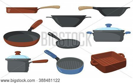 Kitchen Pots Set. Frying Pans And Saucepans, Skillet With Handle And Wok. Vector Illustrations Colle
