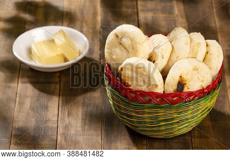 Small Colombian Corn Arepas With Butter - Zea Mays