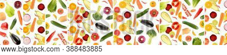 Panoramic skinali from whole and cut vegetables and fruits isolated on white background.