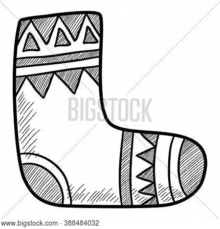 Christmas Holidays Wool Cotton Sock Icon. Hand Drawn And Outline Illustration Of Christmas Holidays