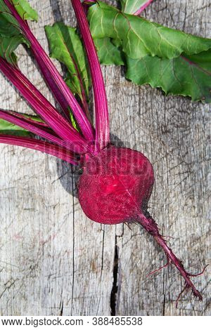 Fresh Beetroot With Leaves On A Wooden Board. Healthy Food. Beetroots. Organic Beet, Beetroot On Gre