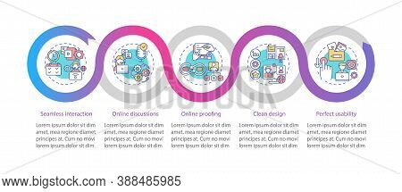 Teleworking App Features Vector Infographic Template. Proofing, Clean Design Presentation Design Ele