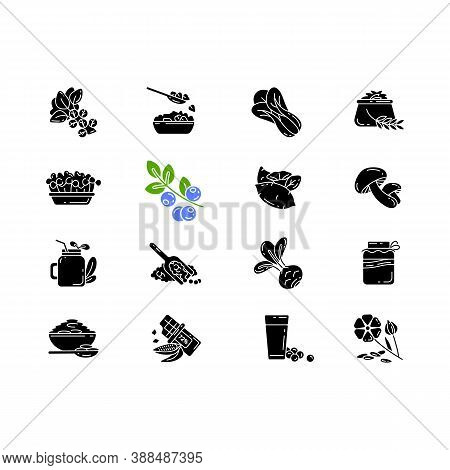 Superfoods Variety Black Glyph Icons Set On White Space. Organic Vegetables Options. Healthy Lifesty