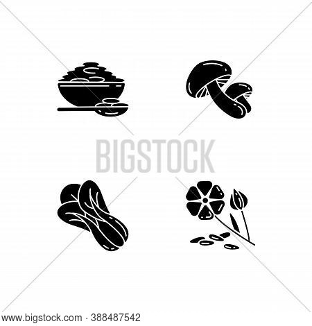 Healthy Grains Black Glyph Icons Set On White Space. Organic Shiitake Mushrooms. Eco Seed Meal Ingre