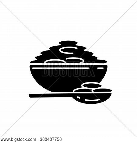 Lentils Black Glyph Icon. Natural Porrige Meals. Healthy Vegetarian Foods Ideas. Bowl Full Of Eco Gr
