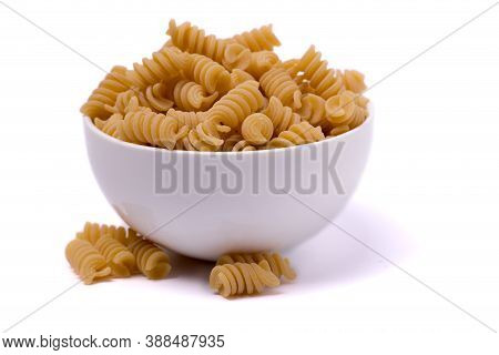 Bowl Filled With Rigatoni Isolated On A White Background
