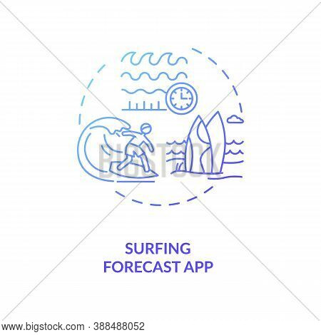 Surfing Forecast App Concept Icon. Gadget Function Idea Thin Line Illustration. Marine Weather Forec