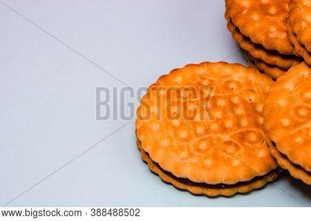 Round Biscuits With Chocolate Cream, Sandwich Biscuits With Chocolate Filling Isolated.