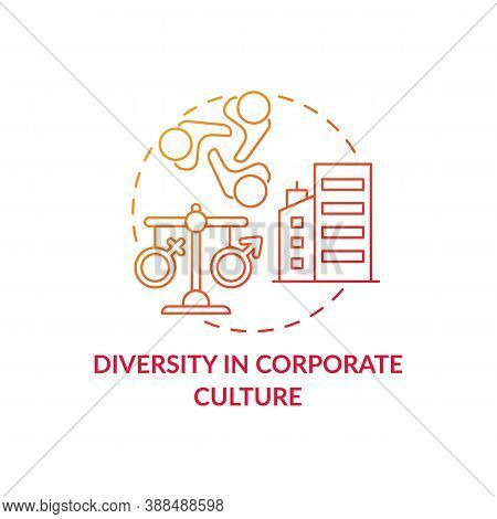 Diversity In Corporate Culture Concept Icon. Gender Diversity Implementation Advices. Equal Rights F