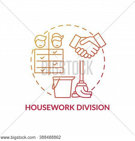 Housework Division Concept Icon. Changing Gender Roles. Family Members Duty Types. Washing Everythin