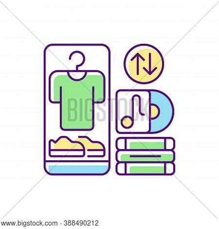 Swap Meet Rgb Color Icon. Items Exchange Deal, Trading Goods Of Equal Value. Consumerism, Barter. Sh