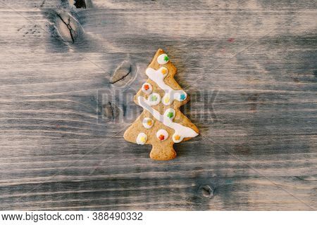 Christmas Homemade Gingerbread Cookies With Cinnamon And Anise On Old Wooden Background With Space F