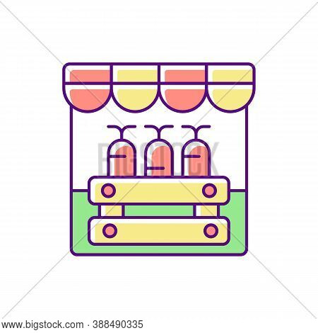 Farmers Market Rgb Color Icon. Grocery Shopping, Local Marketplace. Street Bazaar, Small Business. K