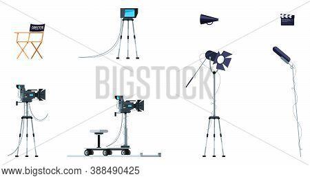 Movie Equipment Semi Flat Rgb Color Vector Illustration Set. Film Creation Process Colletion. Actors