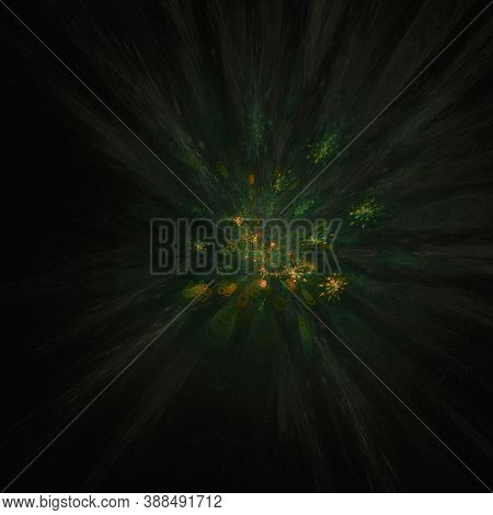 Computer Generated Fractal Abstract Background. Green And Yellow Color