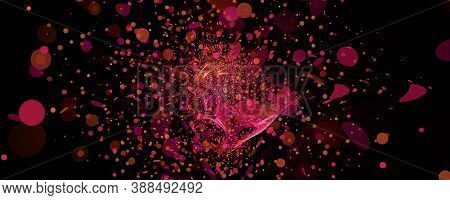 Computer Generated Fractal Abstract Background. Flying And Falling Pink And Pink Circles. Celebratio