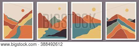 Abstract Contemporary Landscape Posters. Modern Boho Background Set With Lake, River, Sun, Moon, Mou