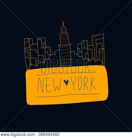 Vector New York Lettering With Illustration. Names Of A City In The United States, New York, Drawn B