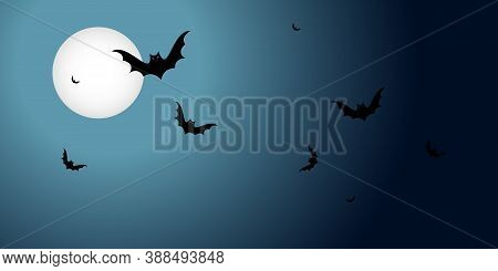 Halloween Banner With Flying Black Bats Over The Moon On A Dark Background. Horizontal With Copy Spa