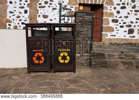 San Andres De Teixido, Spain - September 13, 2020:  Separate Plastic And Organic Garbage Collection