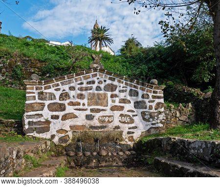 San Andres De Teixido, Spain - September 13, 2020:  Fountain Of The Three Pipes In The San Andres De