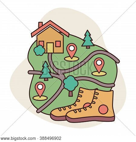Map With Points Of Interest And Paths. Local Tourism Staycation Concept. A Pair Of Hiking Boots. Vec