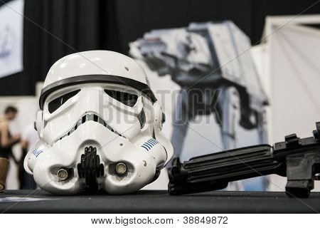 LONDON, UK - OCTOBER 28: Display of replicas of Star Wars' Storm Trooper helmet on display at the London Comicon MCM Expo. October 28, 2012 in London.