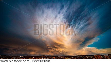 Sky with epic dramatic storm clouds during tornado