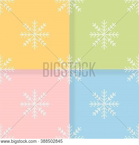 The Set Of Four Seamless Pattern With The Cross-stitch White Snowflakes.