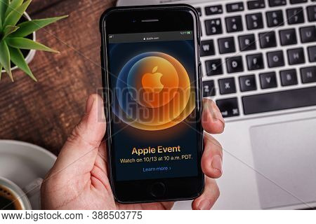 Antalya / Turkey - October 06, 2020: Hands Holding Iphone With Apple Event Logo 2020 On The Screen.