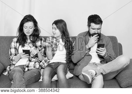 Mobile Device Affecting Relationship. Unhappy Kid Complain At Parents Using Phones. Smartphone Addic