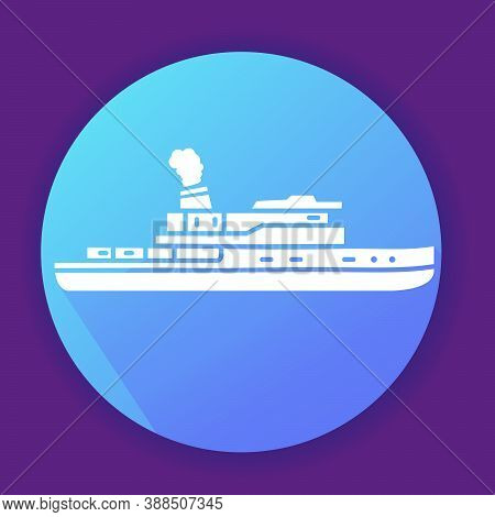 Steamboat Yacht Ship Icon.isolated On A Blue Background.