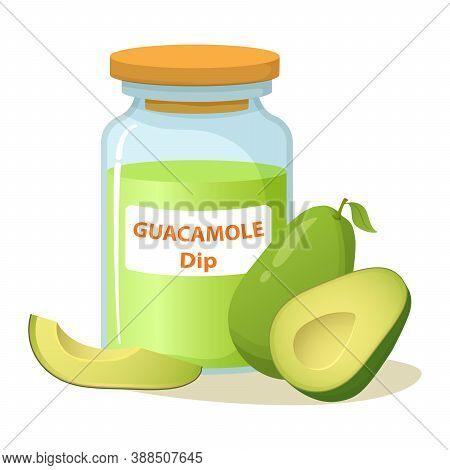 Jar With Guacamole Dip Avocado Sauce.realistic Vector Illustration.