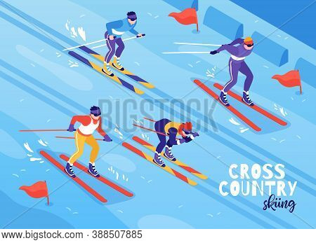 Skiing Winter Outdoor Sport Race Contestants Isometric Composition With Ski Tracking Slope Backgroun