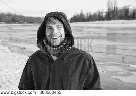 Full Of Happiness. Chill Weather Forecast. Human And Nature. Man Enjoy Snowy Landscape In Sunset. Fl