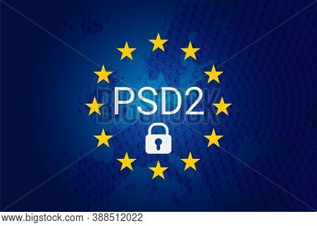 Psd2 - Payment Services Directive. Vector Eu Flag And Map