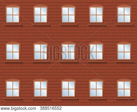 Brick Wall With Windows - Rustic Apartment Building With Twenty Four Windows In Which The Blue Sky I