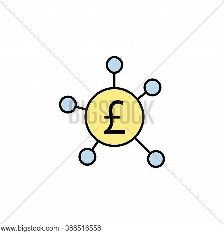 Connection, Circle, Pound Colored Icon. Element Of Finance Illustration. Signs And Symbols Colored I