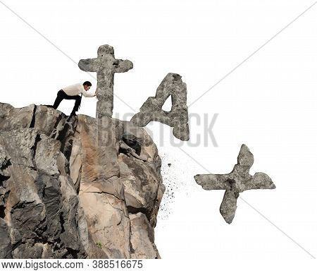 Businessmanthrows Off The Mountain The Word Tax Made Of Heavy Rock