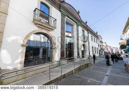 Esposende, Portugal - February 21, 2020: Architectural Detail And Street Ambience Of The Town Hall I