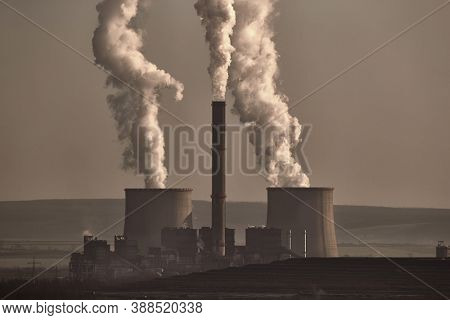 Power plant polluting the atmosphere in Visonta, Matra, Hungary, old coal powered facility