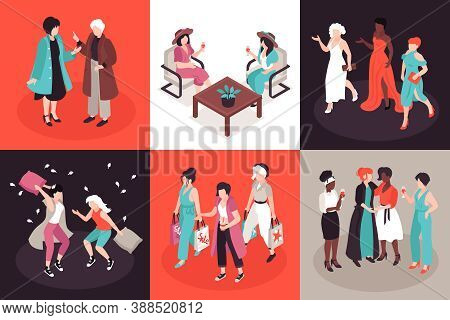 Isometric Women Friends Design Concept With Female Characters In Beautiful Dress Hanging Around With