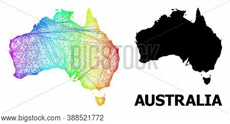 Network And Solid Map Of Australia. Vector Model Is Created From Map Of Australia With Intersected R