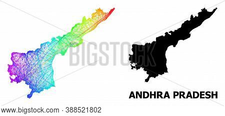 Wire Frame And Solid Map Of Andhra Pradesh State. Vector Model Is Created From Map Of Andhra Pradesh