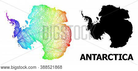 Wire Frame And Solid Map Of Antarctica. Vector Model Is Created From Map Of Antarctica With Intersec