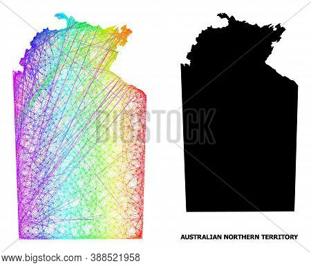 Wire Frame And Solid Map Of Australian Northern Territory. Vector Structure Is Created From Map Of A
