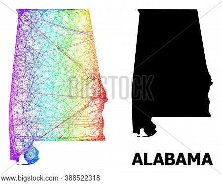 Network And Solid Map Of Alabama State. Vector Structure Is Created From Map Of Alabama State With I